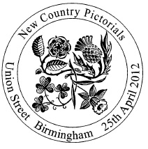 Birmingham postmark showing national floral emblems.