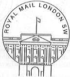 London SW permanent postmark showing Buckingham Palace.
